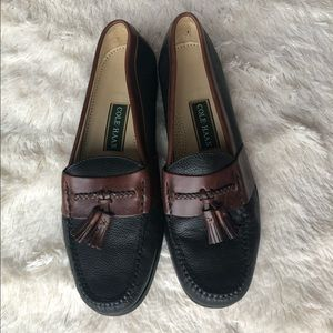 Cole Haan leather tassel loafers black brown 11